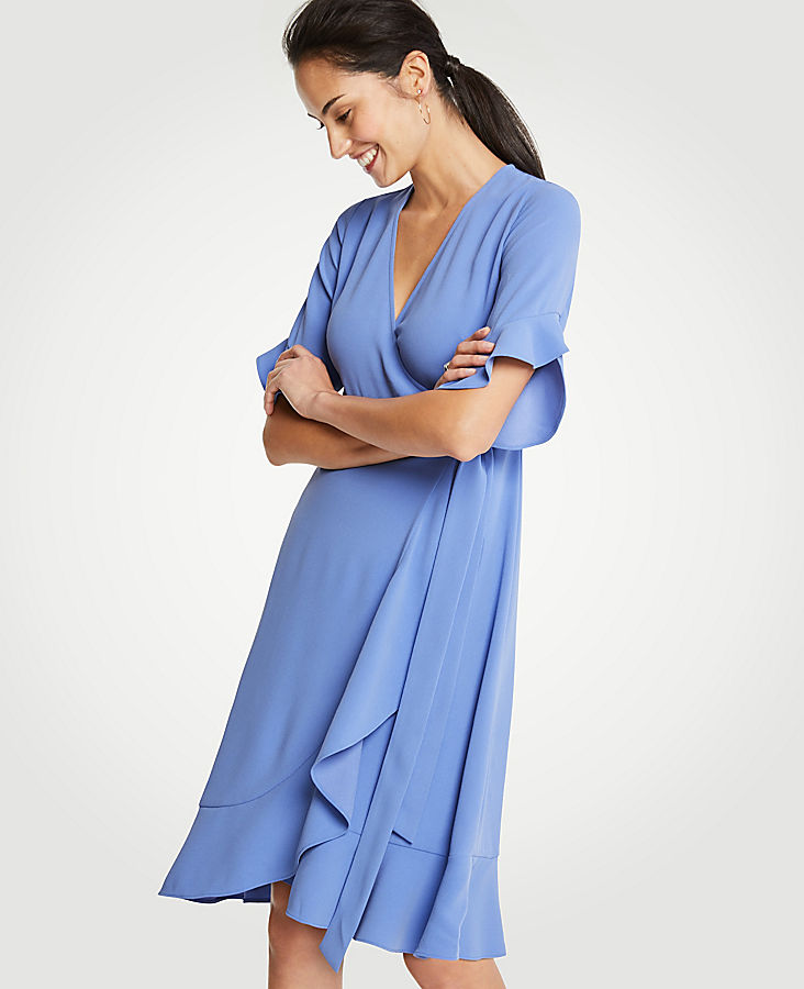 Petite Flounce Hem Wrap Dress