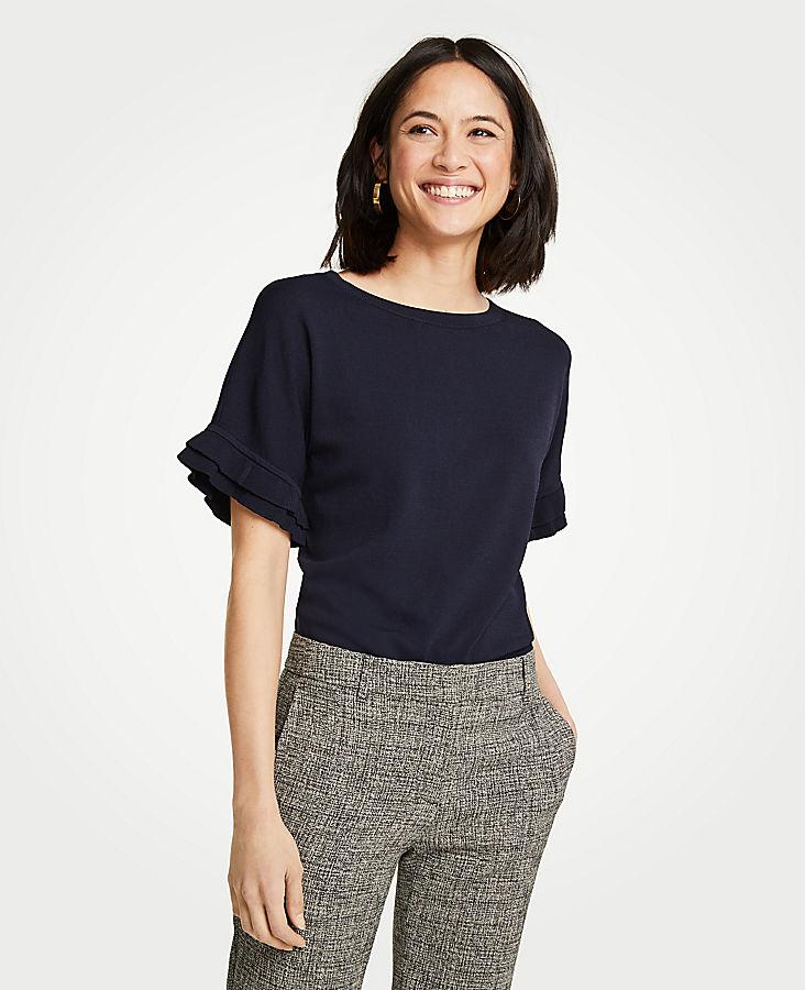 Petite Ruffled Short Sleeve Sweater