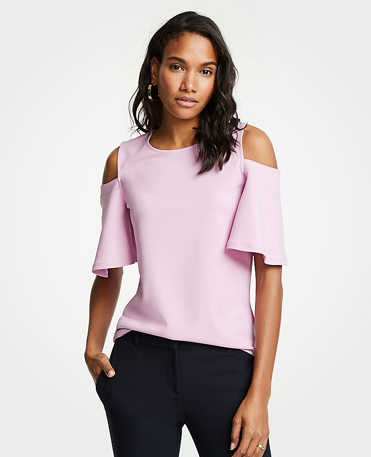 Petite Cold Shoulder Top