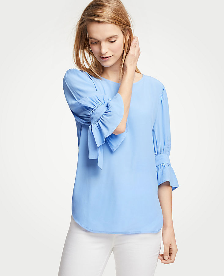 Petite Shirred Bow Sleeve Top