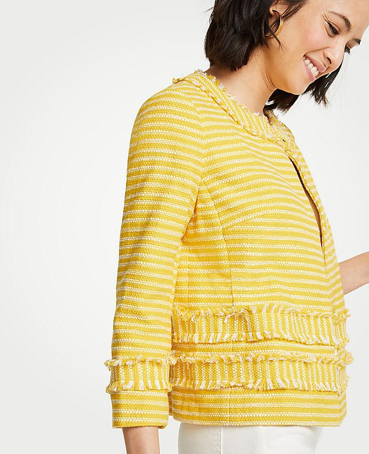 Petite Striped Fringe Jacket