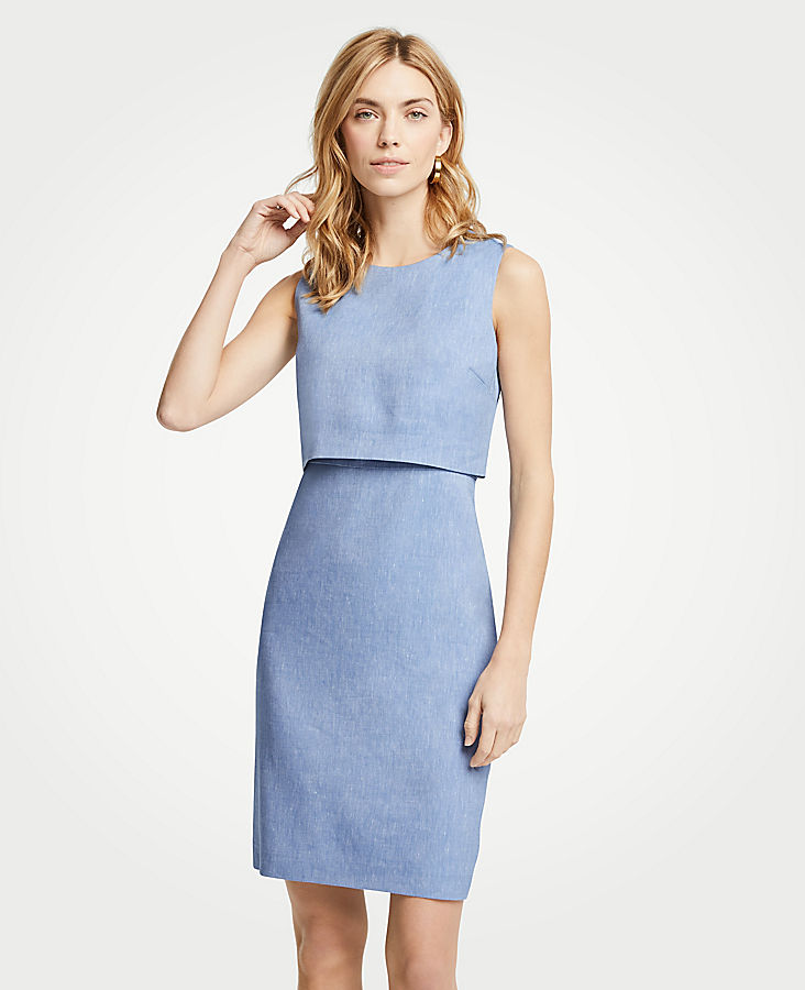 Petite Linen Blend Overlay Sheath Dress