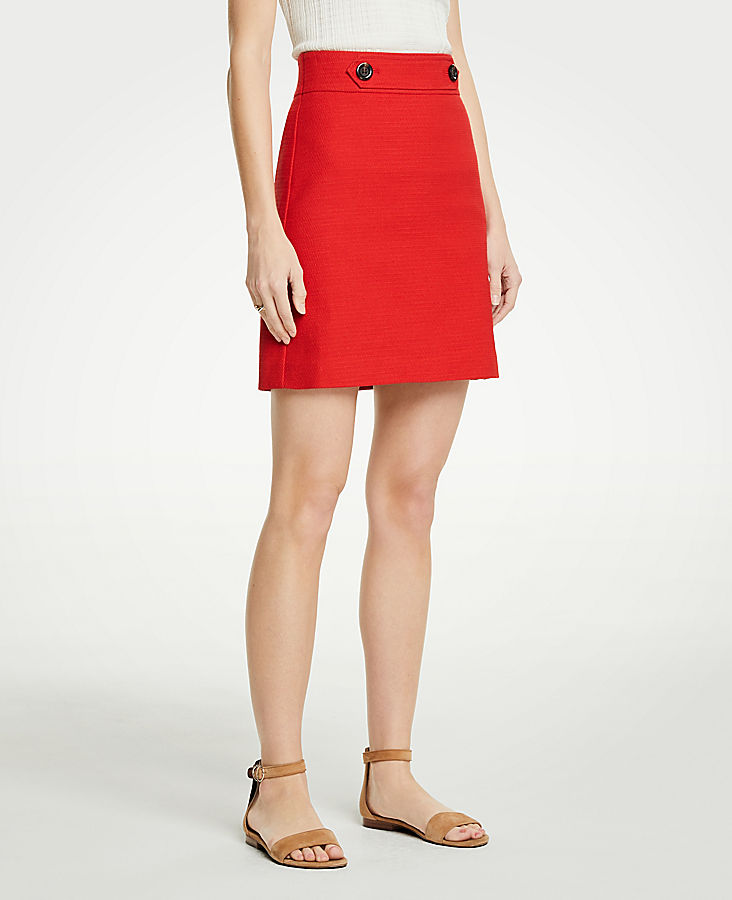 Petite Button Tab A-Line Skirt | Tuggl
