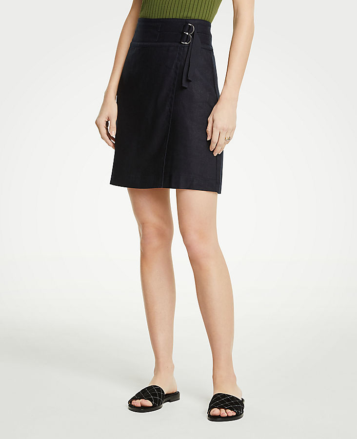 Petite Belted Twill Skirt | Tuggl
