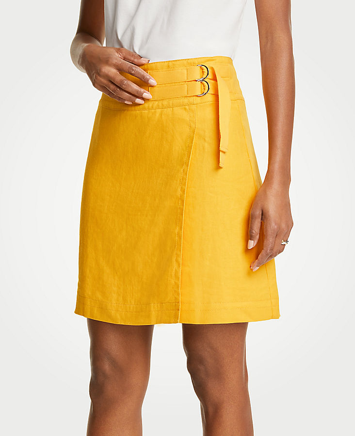 Petite Belted Twill Skirt