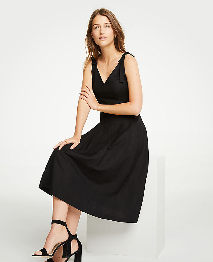 Petite Tie Shoulder Midi Dress