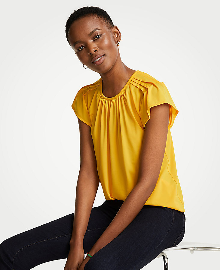 Petite Pintucked Flutter Sleeve Top | Tuggl