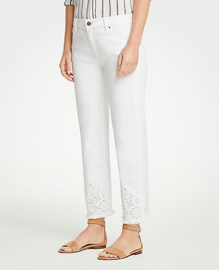 Petite Eyelet Straight Crop Jeans