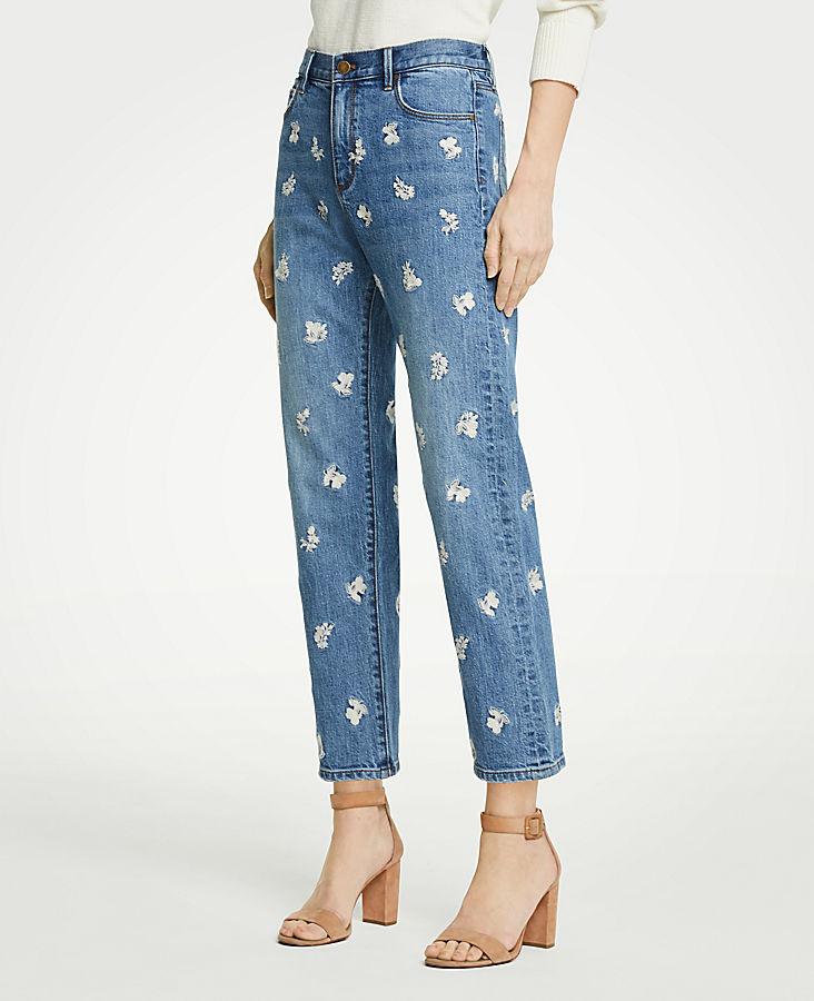 Petite Floral Embroidered Straight Crop Jeans