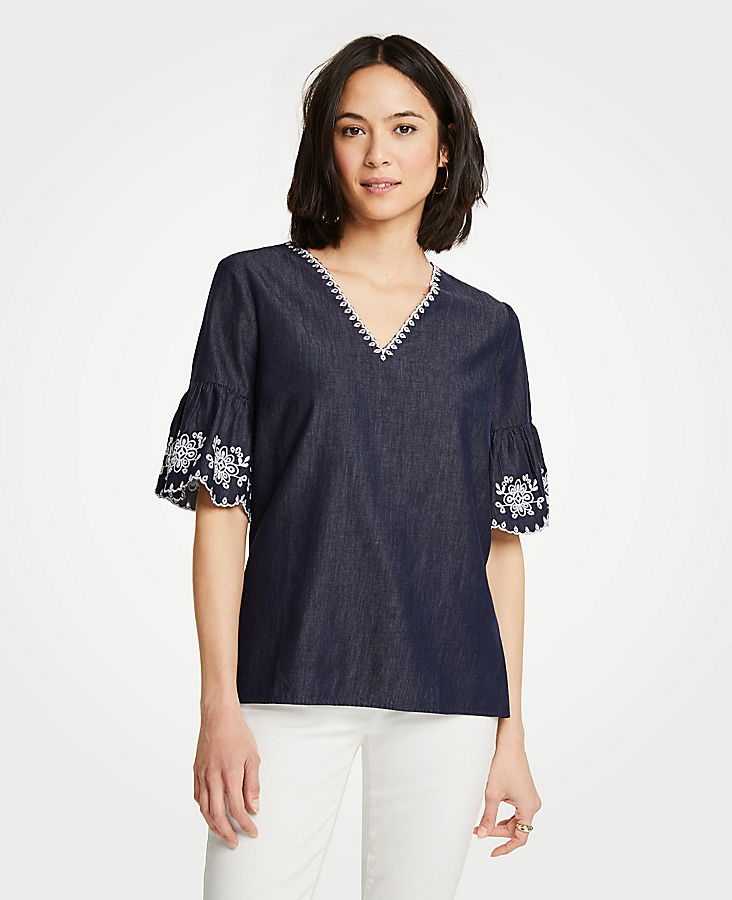Petite Floral Embroidered Denim Top