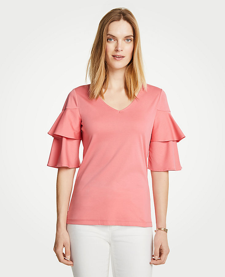 Petite Tiered Ruffle Sleeve Top
