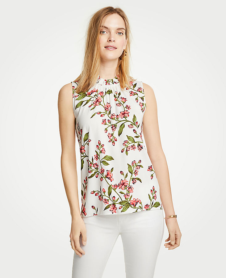 Petite Floral Corded Ruffle Neck Shell | Tuggl