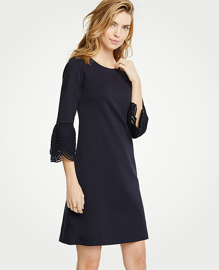 Petite Lace Flare Sleeve Shift Dress