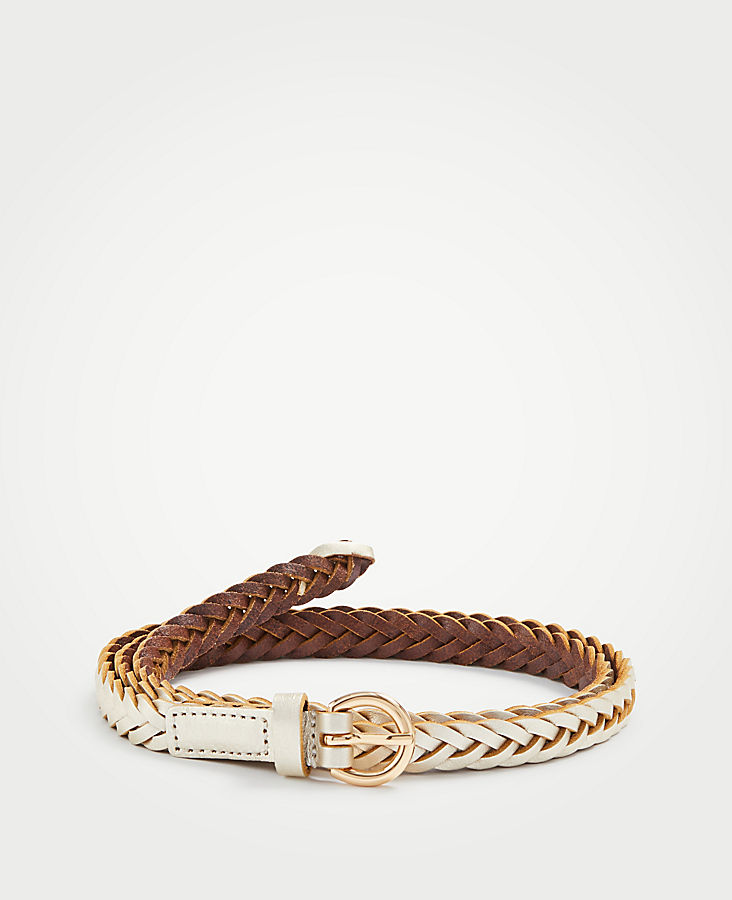 Braided Leather Skinny Belt | Tuggl