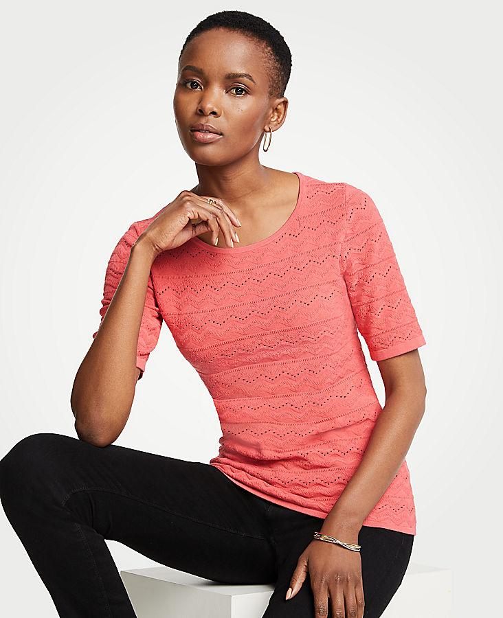 Chevron Short Sleeve Sweater | Tuggl