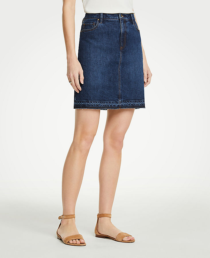 Petite Released Hem Denim Skirt | Tuggl