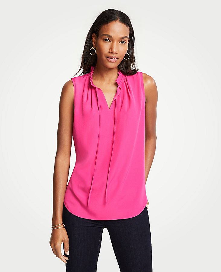 Pleated Tie Neck Shell | Tuggl