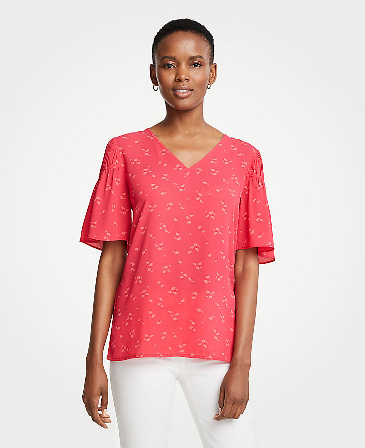 Lily Leaves Shirred Sleeve Top | Tuggl