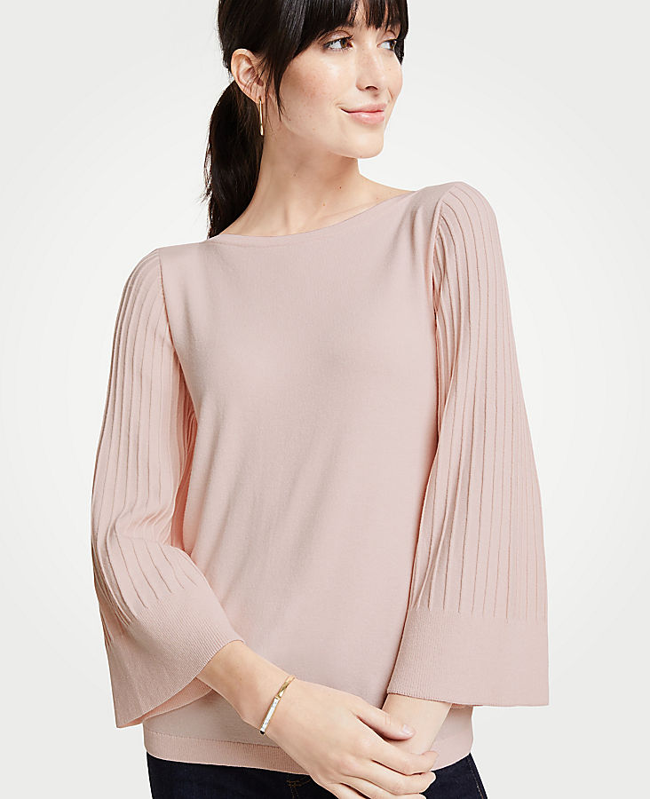 Boatneck Pleated Sleeve Sweater | Tuggl