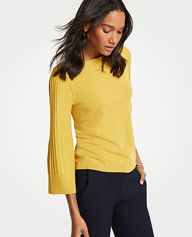 Boatneck Pleated Sleeve Sweater