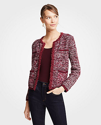 Tweed Pocket Jacket, Bright Orchid from ANN TAYLOR