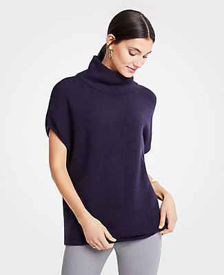 Mock Neck Poncho, Winter Navy from ANN TAYLOR