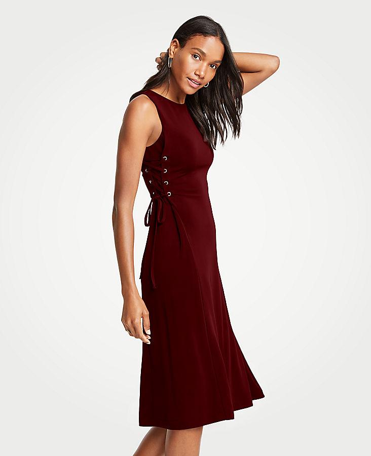 Side Tie Knit Flare Dress | Tuggl