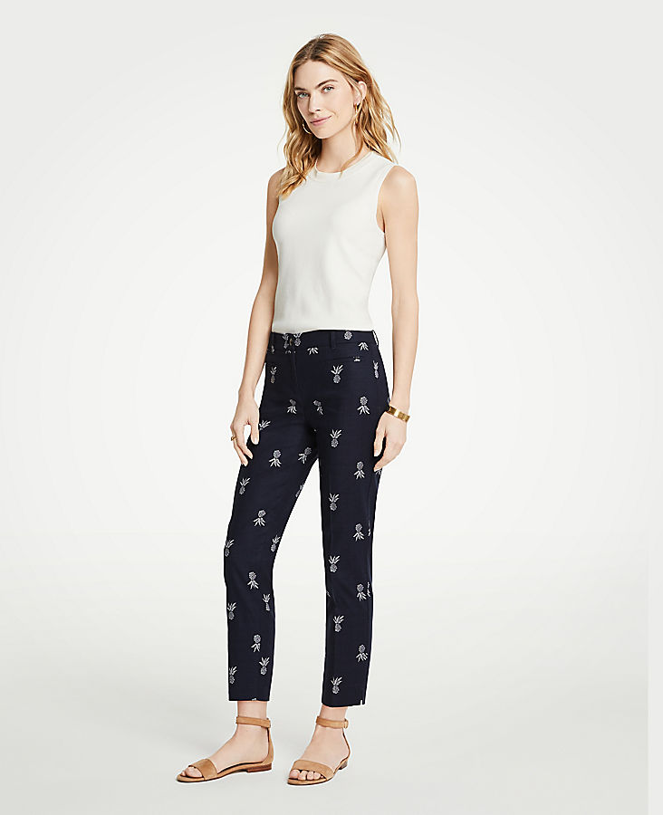The Petite Crop Pant In Pineapple - Curvy Fit