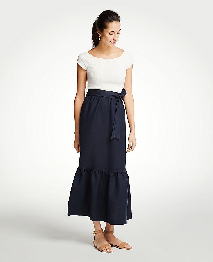 Petite Tie Waist Flounce Maxi Skirt