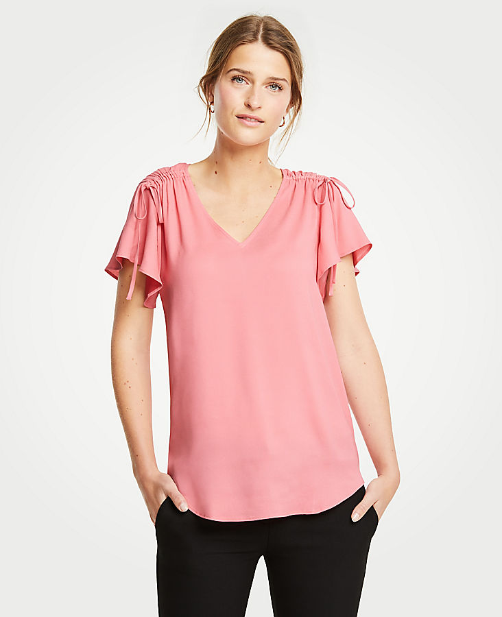 Petite Ruched Shoulder Tie Top | Tuggl