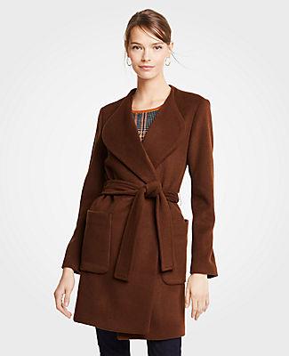 ANN TAYLOR Petite Wool Blend Wrap Coat in Dark Maple