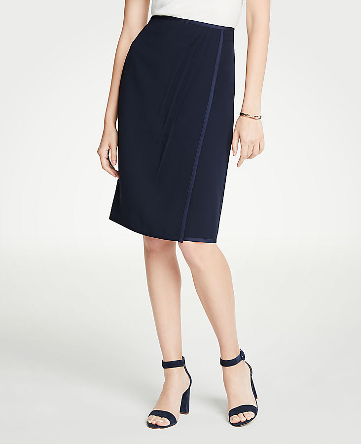 Satin Trim Wrap Pencil Skirt | Tuggl