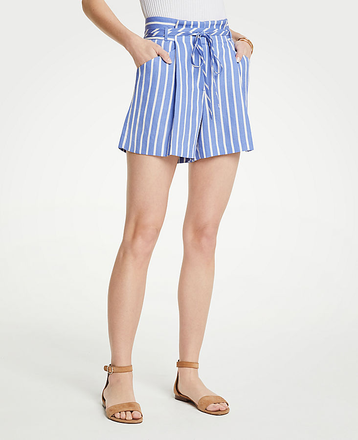 Petite Stripe Pleated Tie Waist Shorts