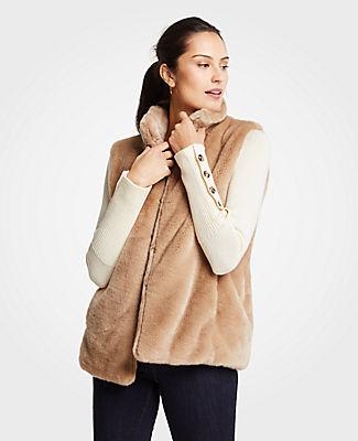 Petite Faux Fur Vest, Teak Wood from ANN TAYLOR