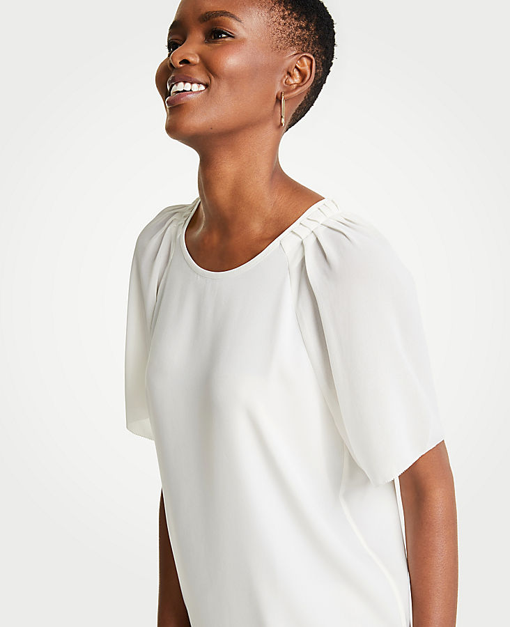 Pleated Sleeve Tee at Ann Taylor in Victor, NY | Tuggl