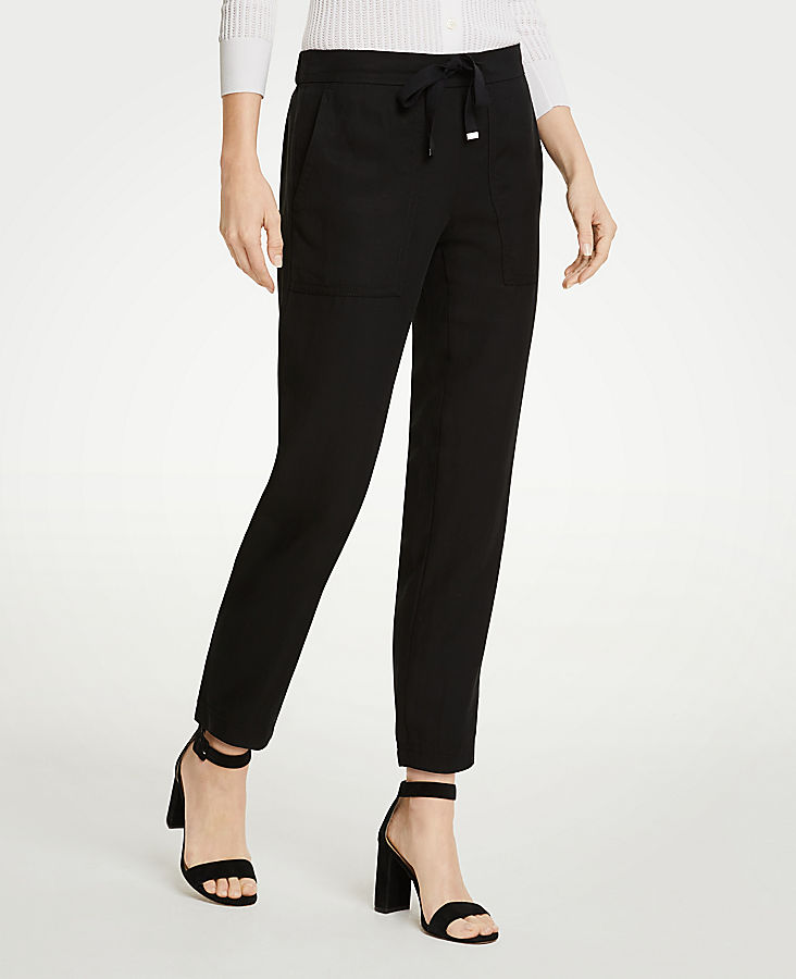 Twill Drapey Ankle Pants | Tuggl