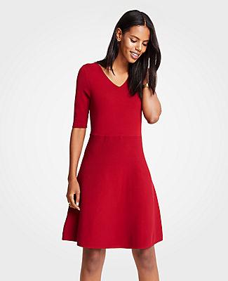 2e638c41fd8 Ann Taylor Petite Wide V-Neck Flare Sweater Dress In Morello Red ...
