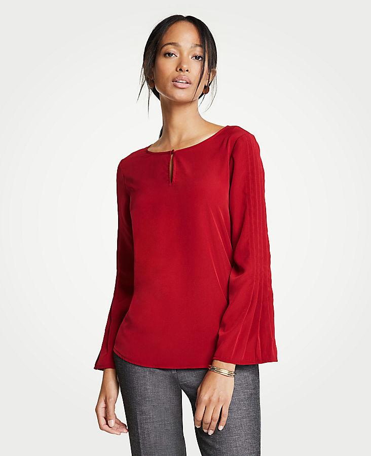 Mixed Media Pleated Sleeve Top | Tuggl