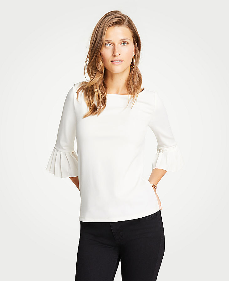 Pleated Cuff Boatneck Top | Tuggl