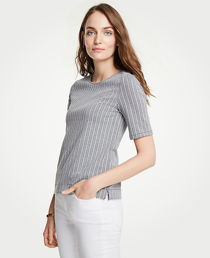 Petite Striped Knit Short Sleeve Top