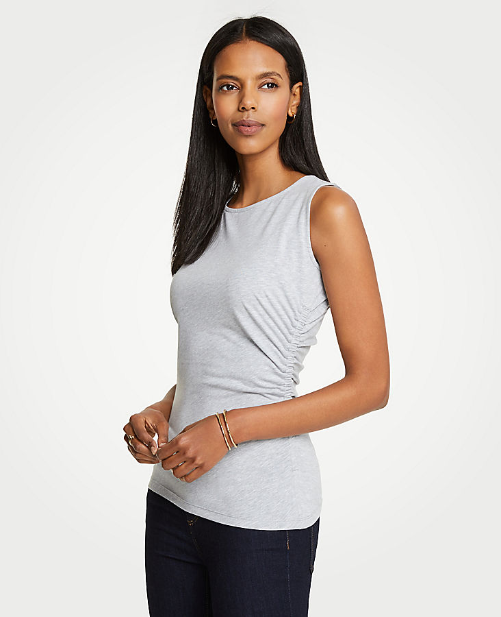 Petite Side Ruched Knit Tank