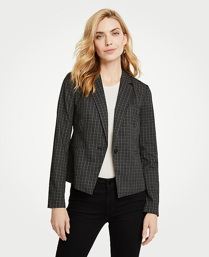 Petite Sketched Plaid One Button Jacket