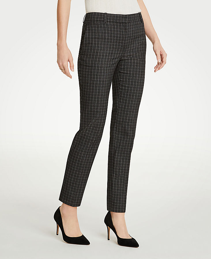 The Petite Ankle Pant In Sketched Plaid - Curvy Fit