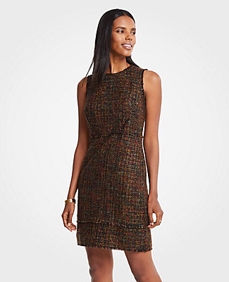 Fringe-trimmed in rich seasonal hues, our rich tweed dress puts you in an autumn state of mind. Jewel neck. Sleeveless. Exposed back zipper. Lined.