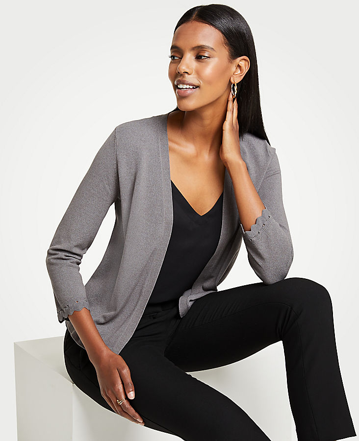 Scalloped Cuff Open Cardigan | Tuggl