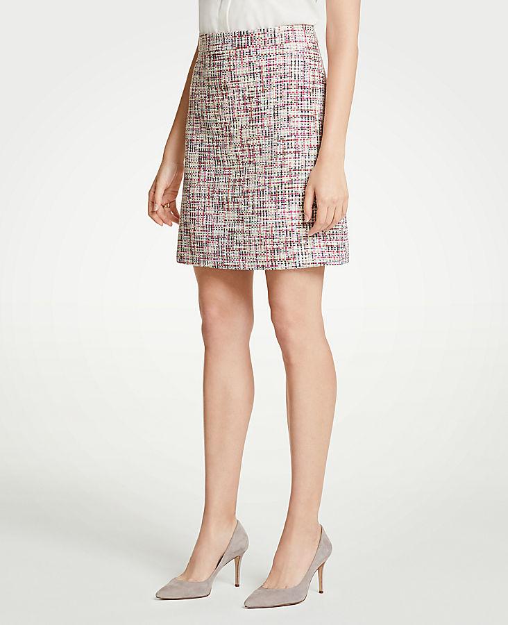 Petite Rainbow Tweed Skirt