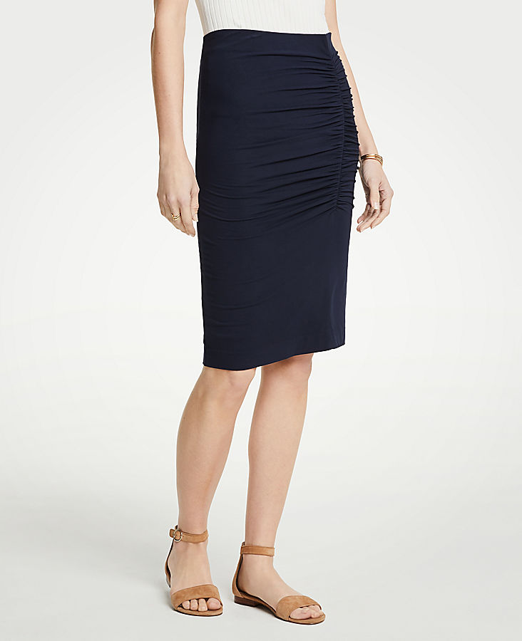 Petite Ruched Knit Pencil Skirt