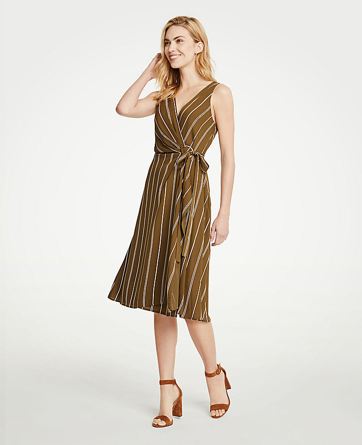 Stripe Belted Wrap Dress at Ann Taylor in Victor, NY | Tuggl