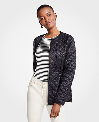 Petite Quilted Puffer Jacket, Black from ANN TAYLOR