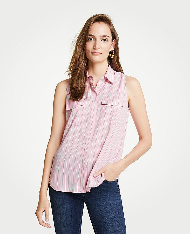 Petite Striped Sleeveless Camp Shirt